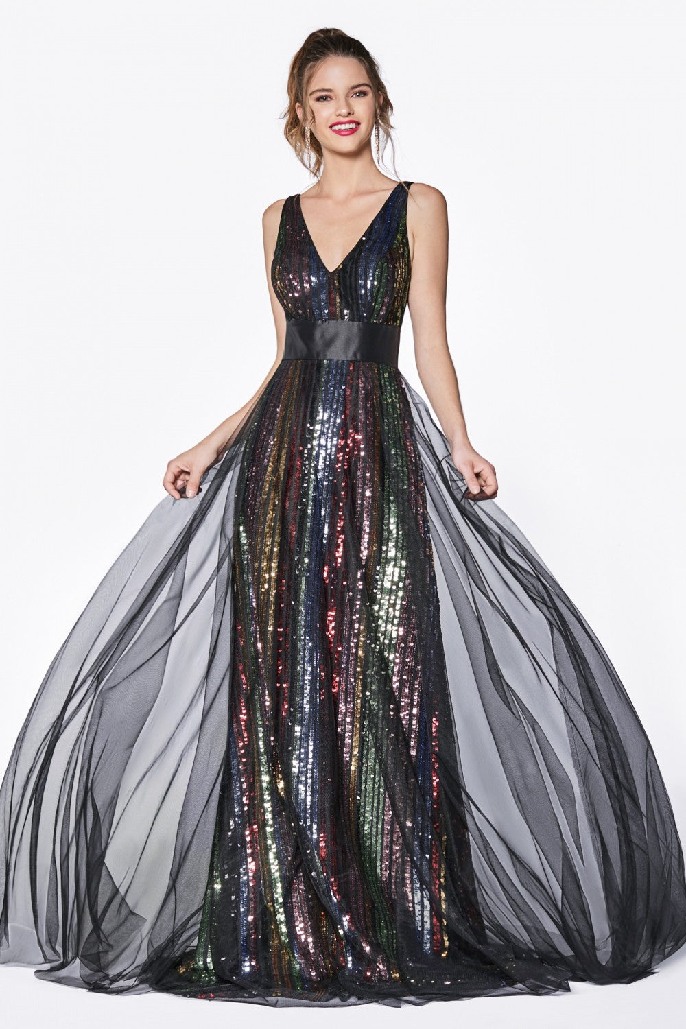 A-Line V-Neckline Gown With Multicolor Striped Sequins And Black Tulle Overskirt