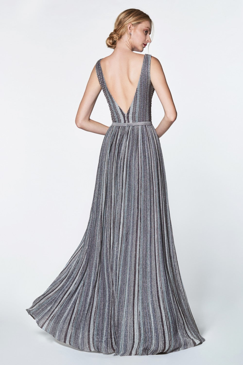 Striped Metallic A-Line Stretch Knit Sleeveless Gown With Deep V-Neckline, Open Back And Belt
