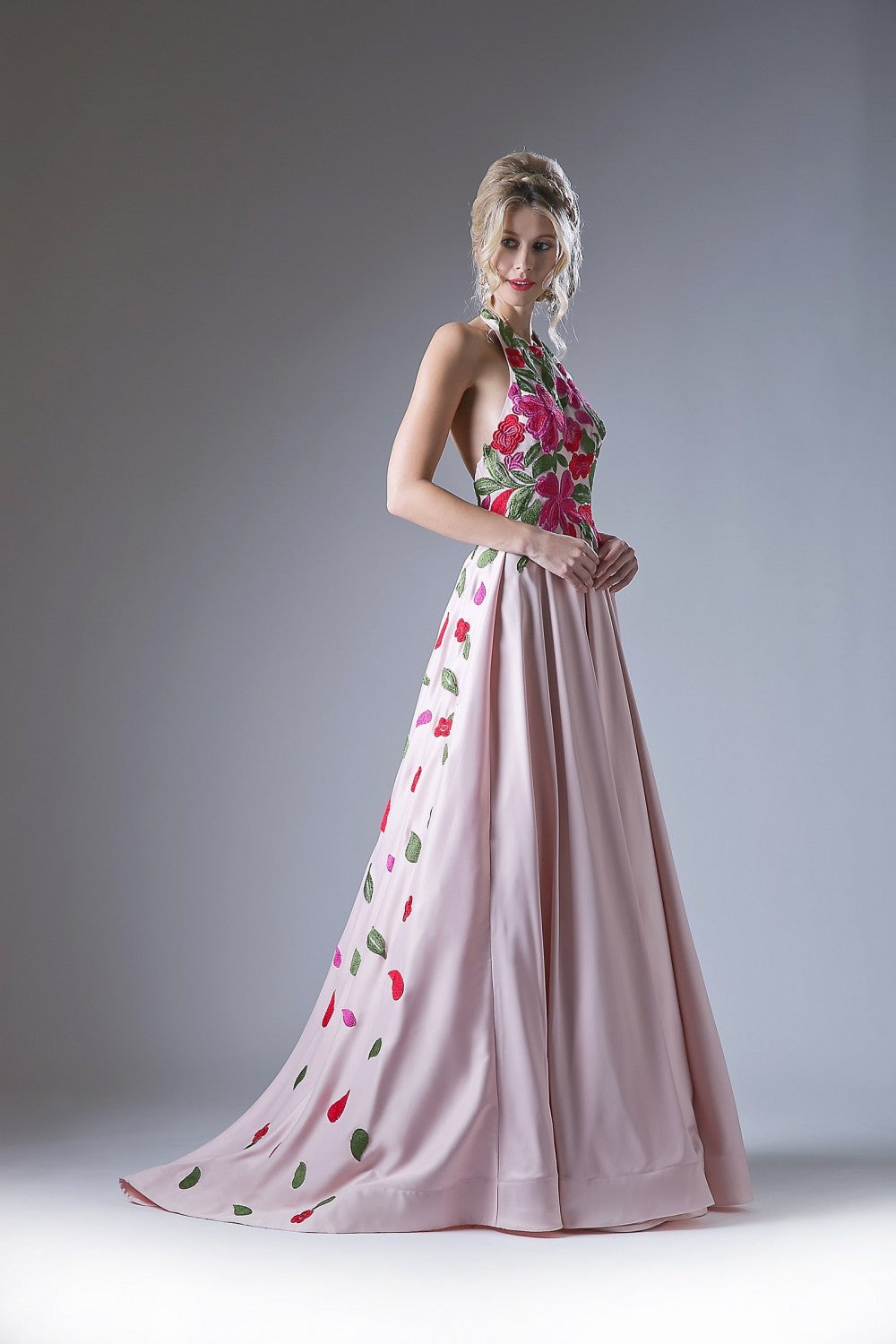 Halter Ballgown With Embroidered Floral Details And Open Back