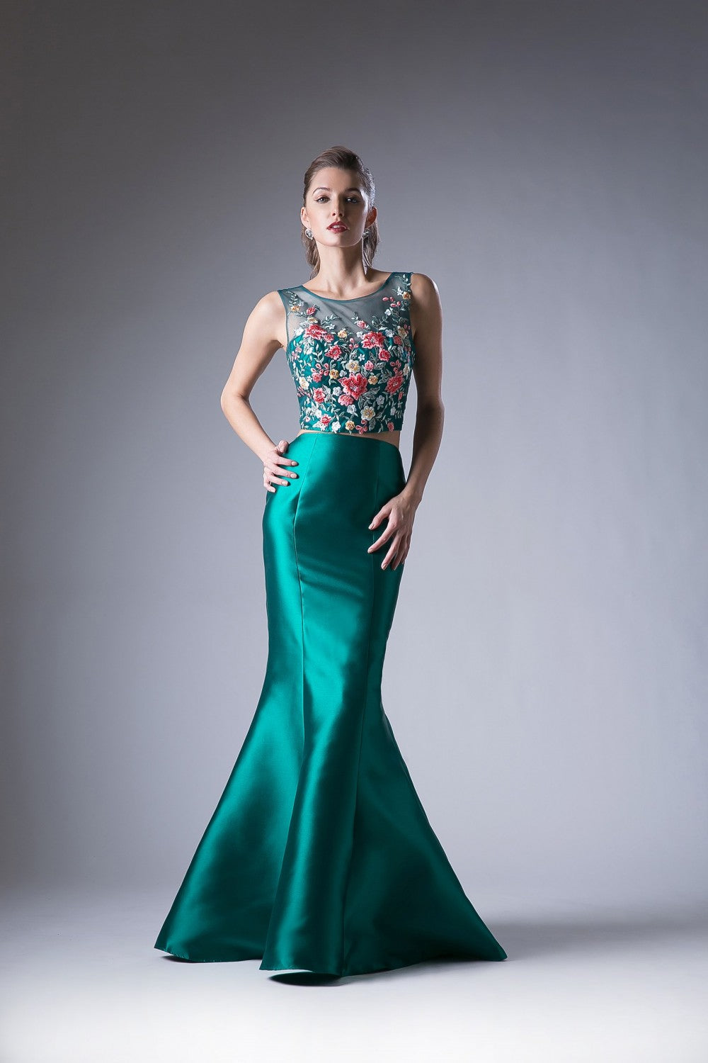 Flower Applique 2 Piece Mermaid Gown