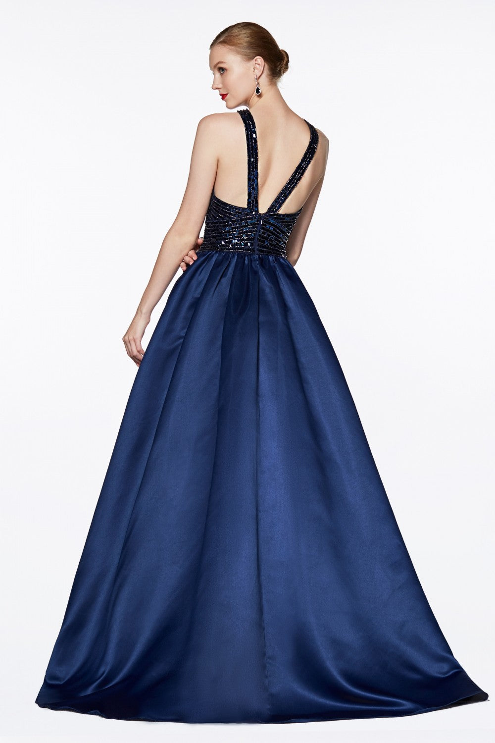 Satin Ball Gown With Beaded Criss Cross Keyhole Neckline And Strappy Back