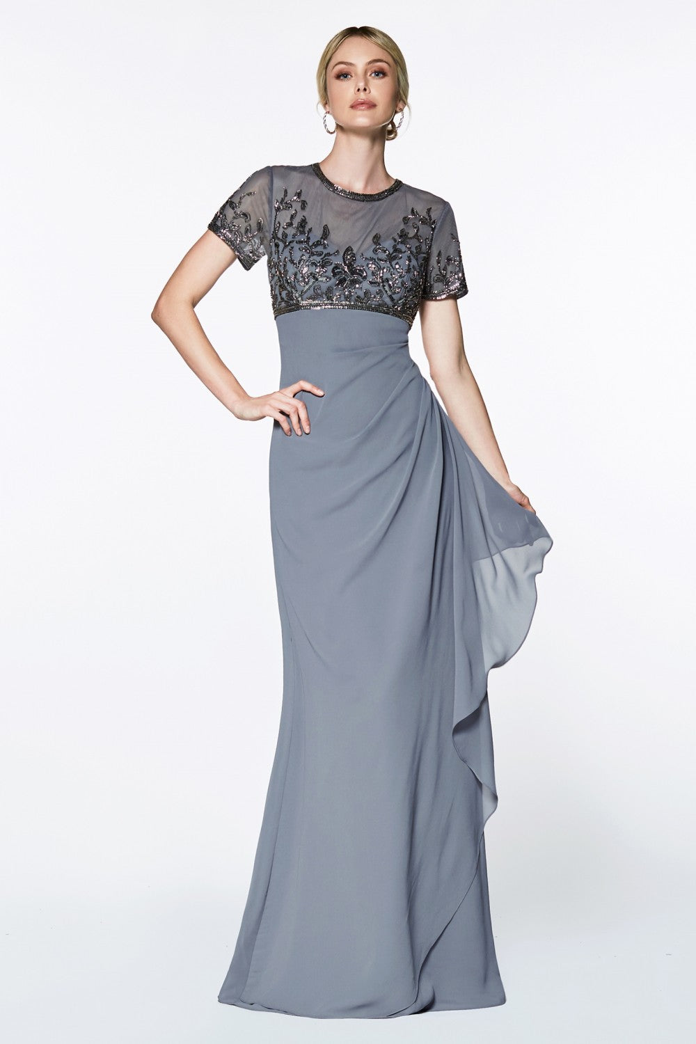 A-Line Wrap Dress With Short Sleeves And Embellished Empire Bodice