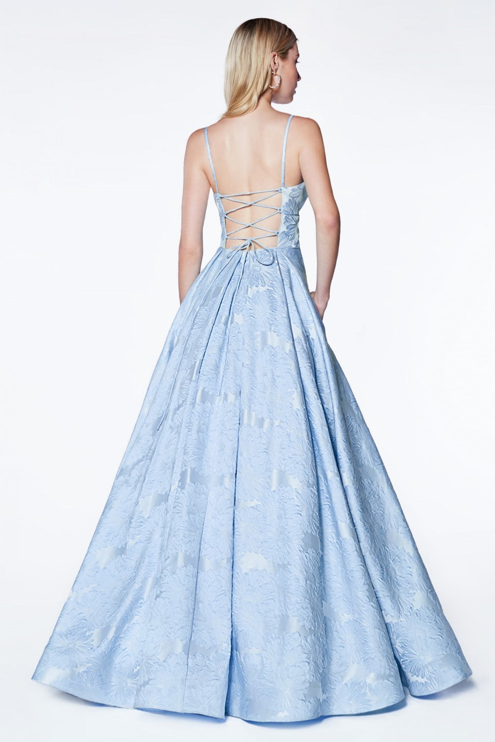 Floral Print Ball Gown With Deep Sweetheart Neckline And Pleated Skirt