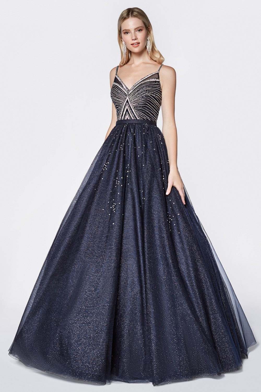 Glittered Ball Gown With Beaded Bodice Detail