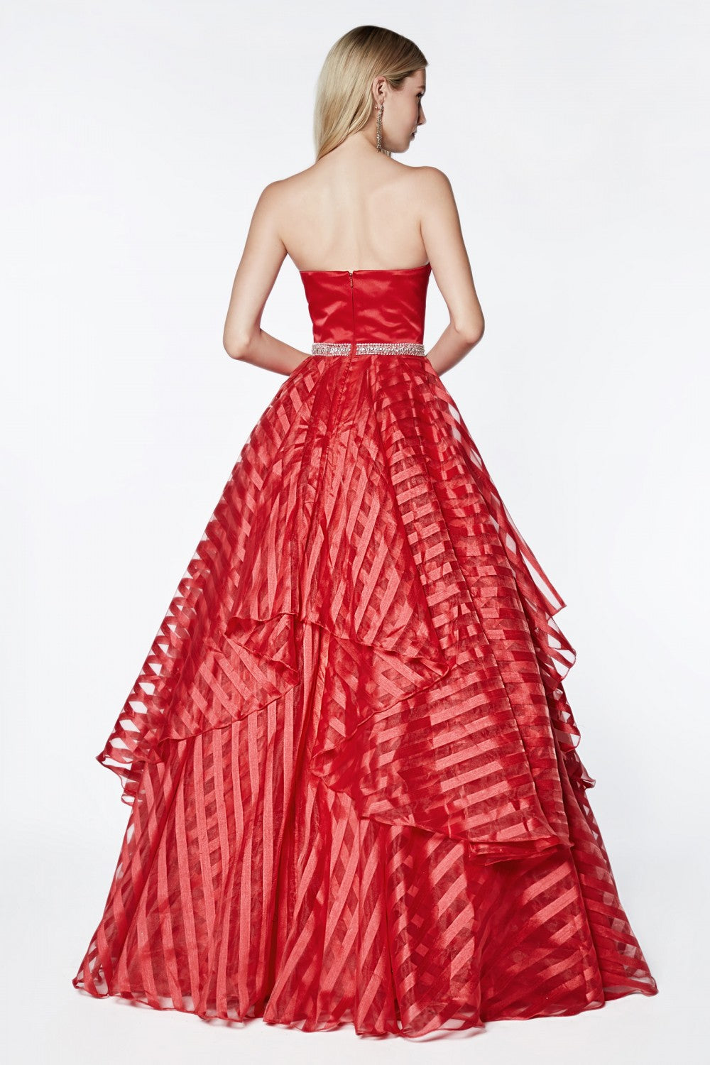 Strapless Ball Gown With Satin Bodice And Striped Organza Layered Skirt