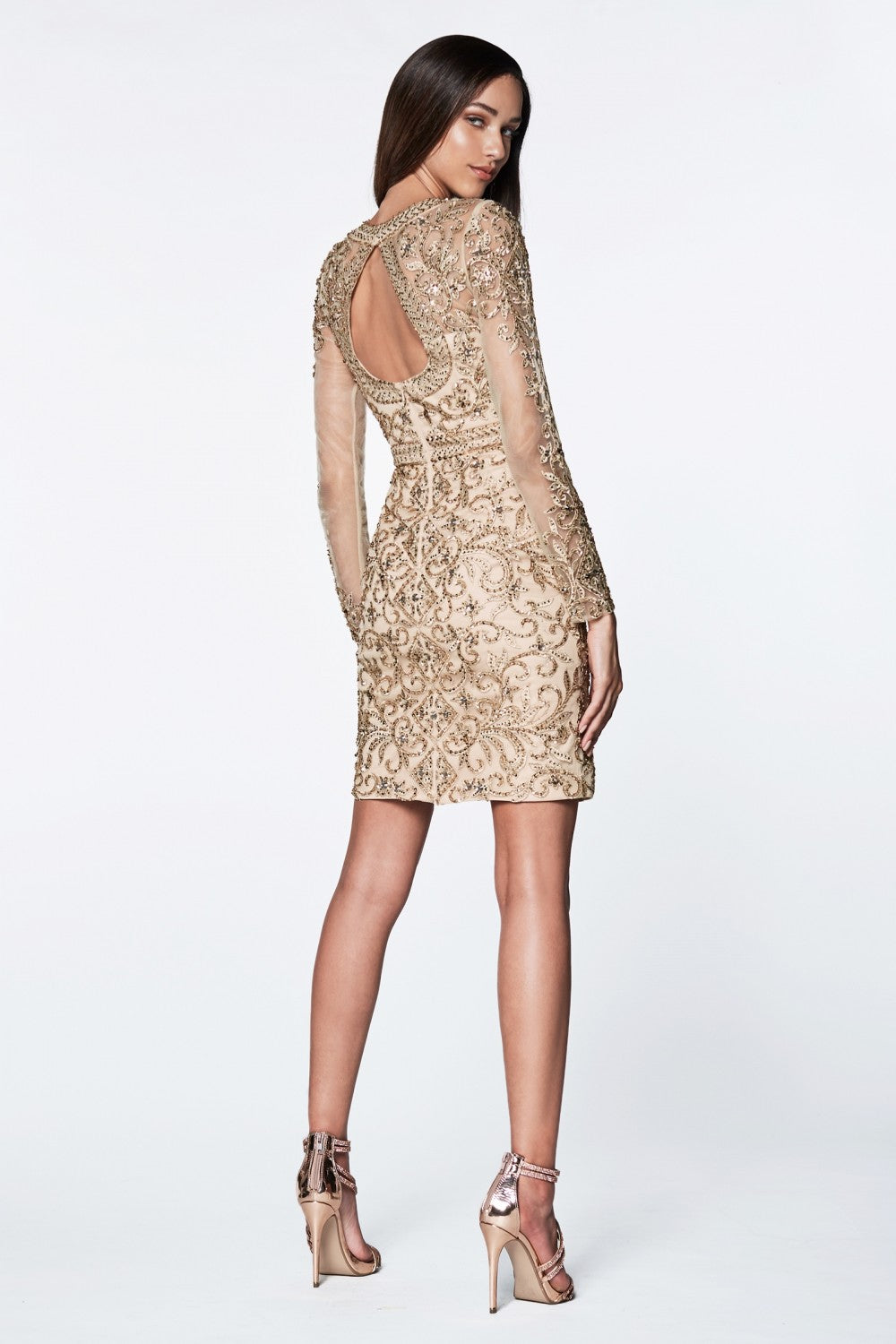 Short Cocktail Gown With Beaded Details And Long Illusions Sleeves