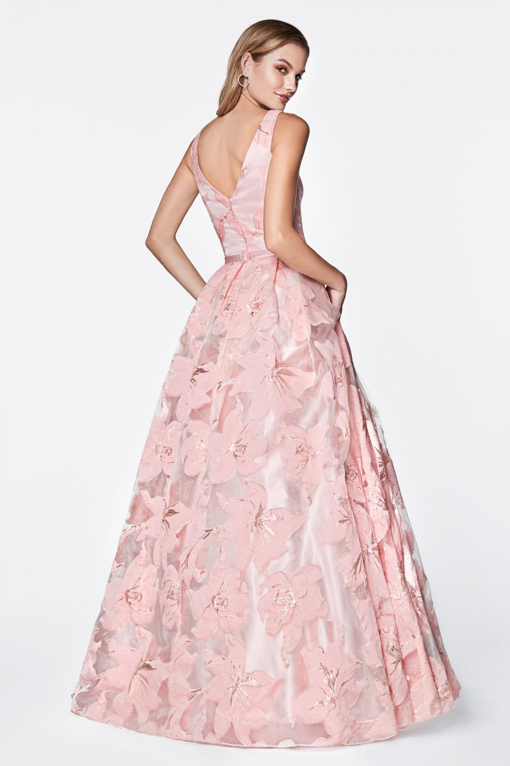 Floral Ball Gown With Deep V-Neckline And Pleated Skirt