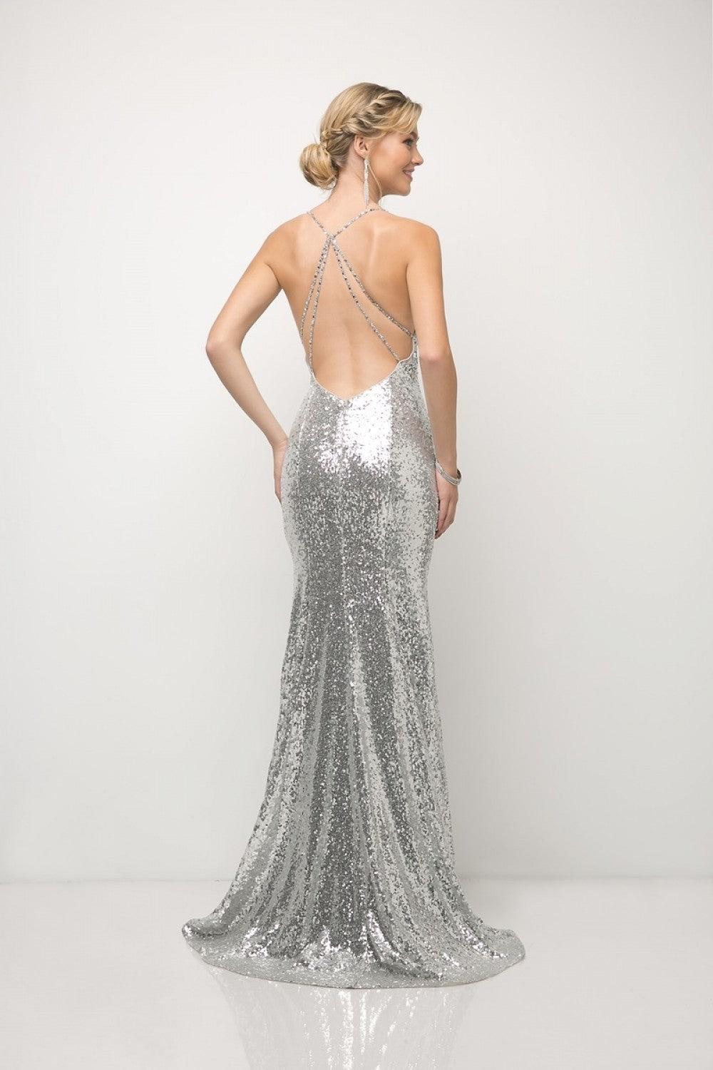Fitted Sequin Gown With V-Neckline And Criss Cross Back