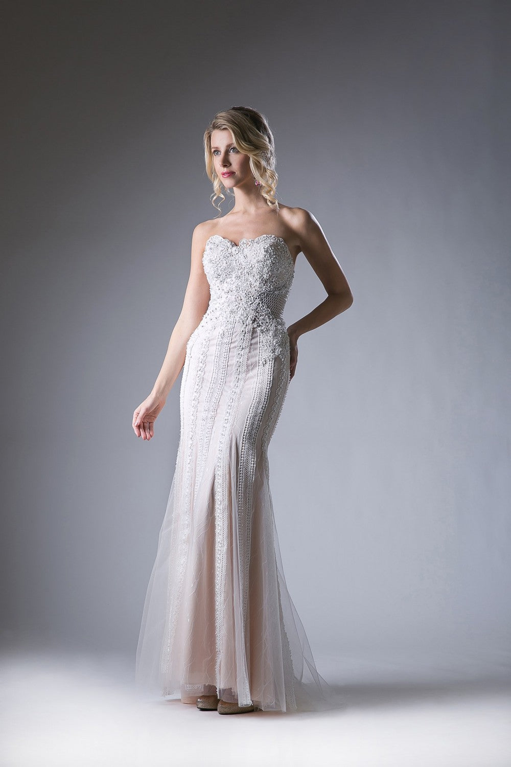 Beaded Lace Novelty Sheath Gown