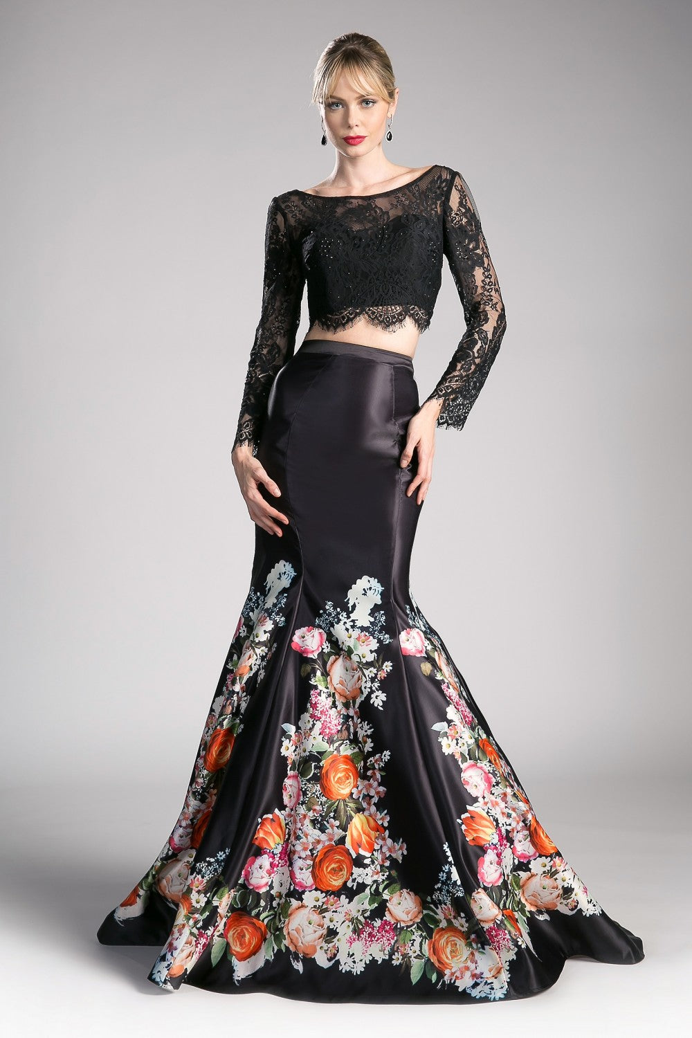 Satin Floral 2 Piece Mermaid Gown