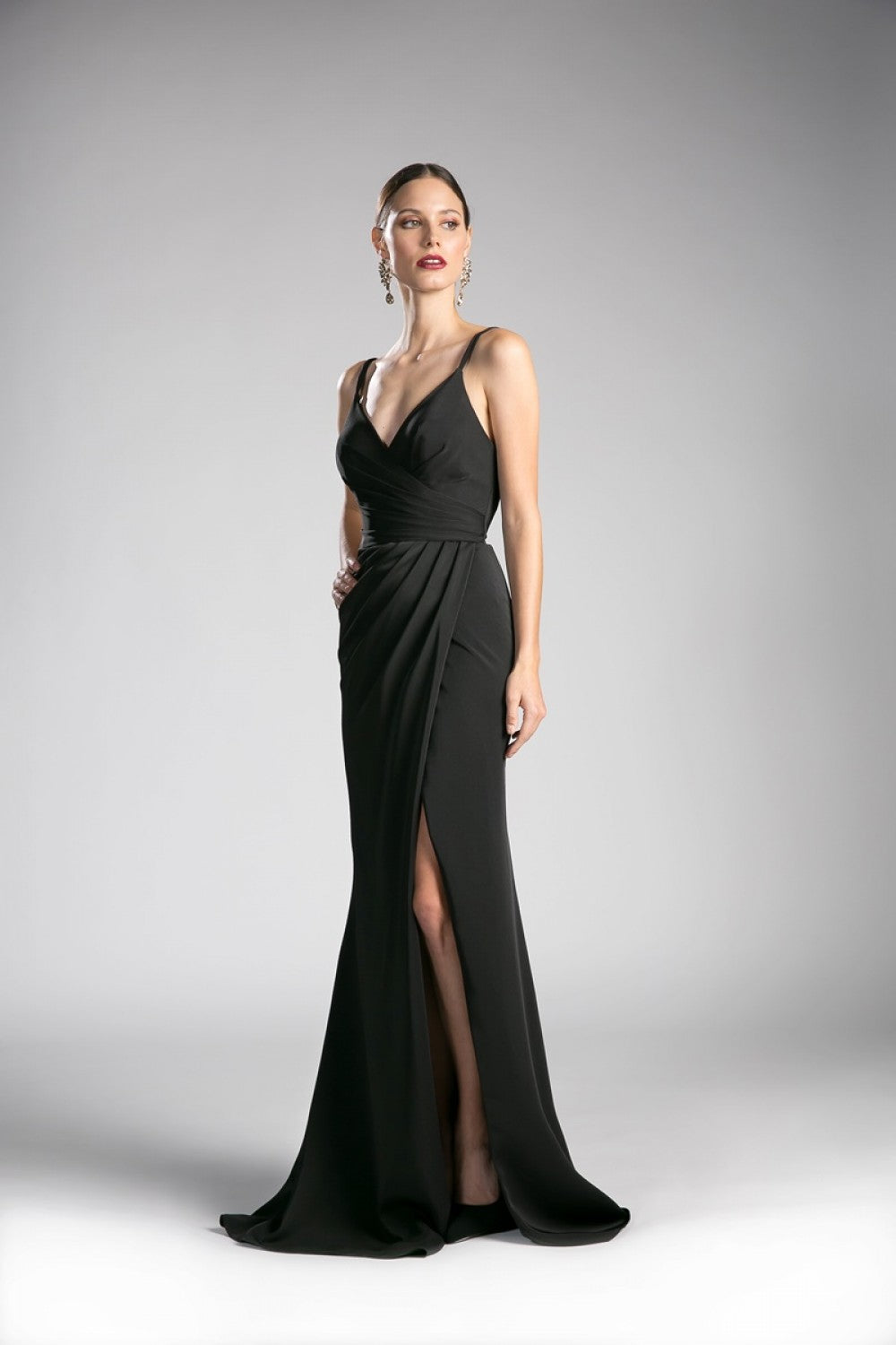 Fitted Ruched Dress With Slit And Pleated Bodice