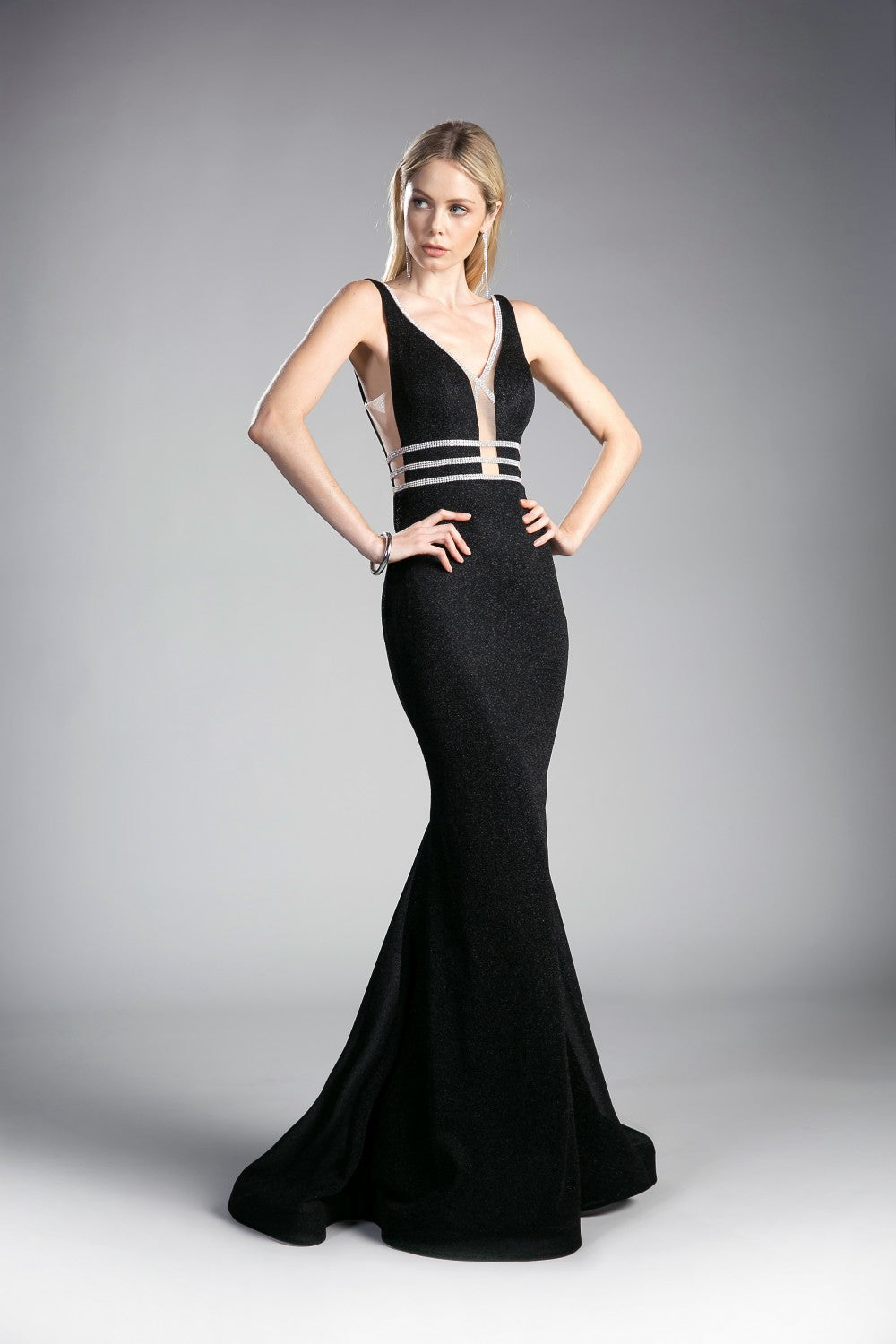 Fitted Metallic Gown With Beaded Belts And Low Open Back