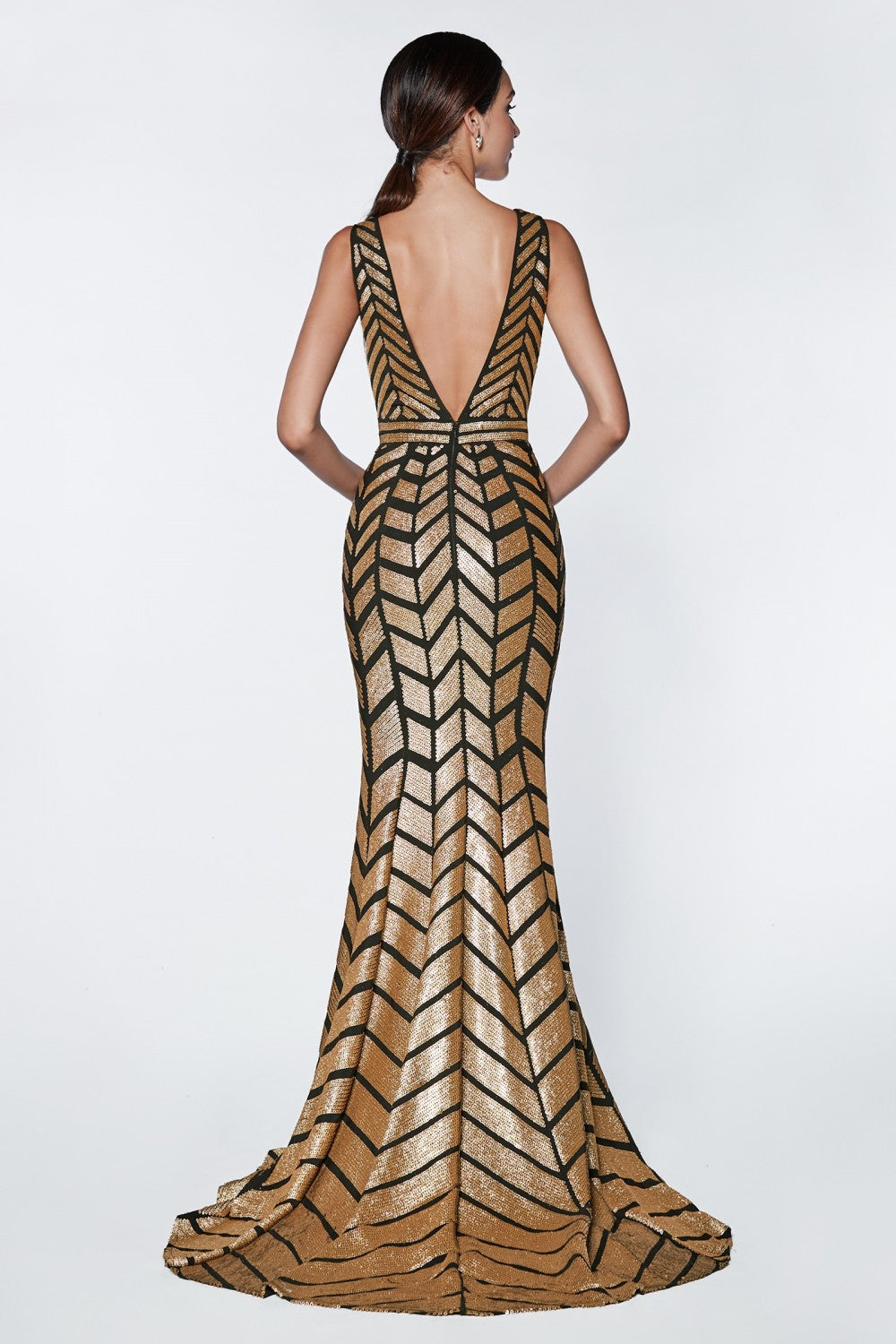 Fitted Gold Sequin Stretch Knit Gown With V-Neckline And Open Back