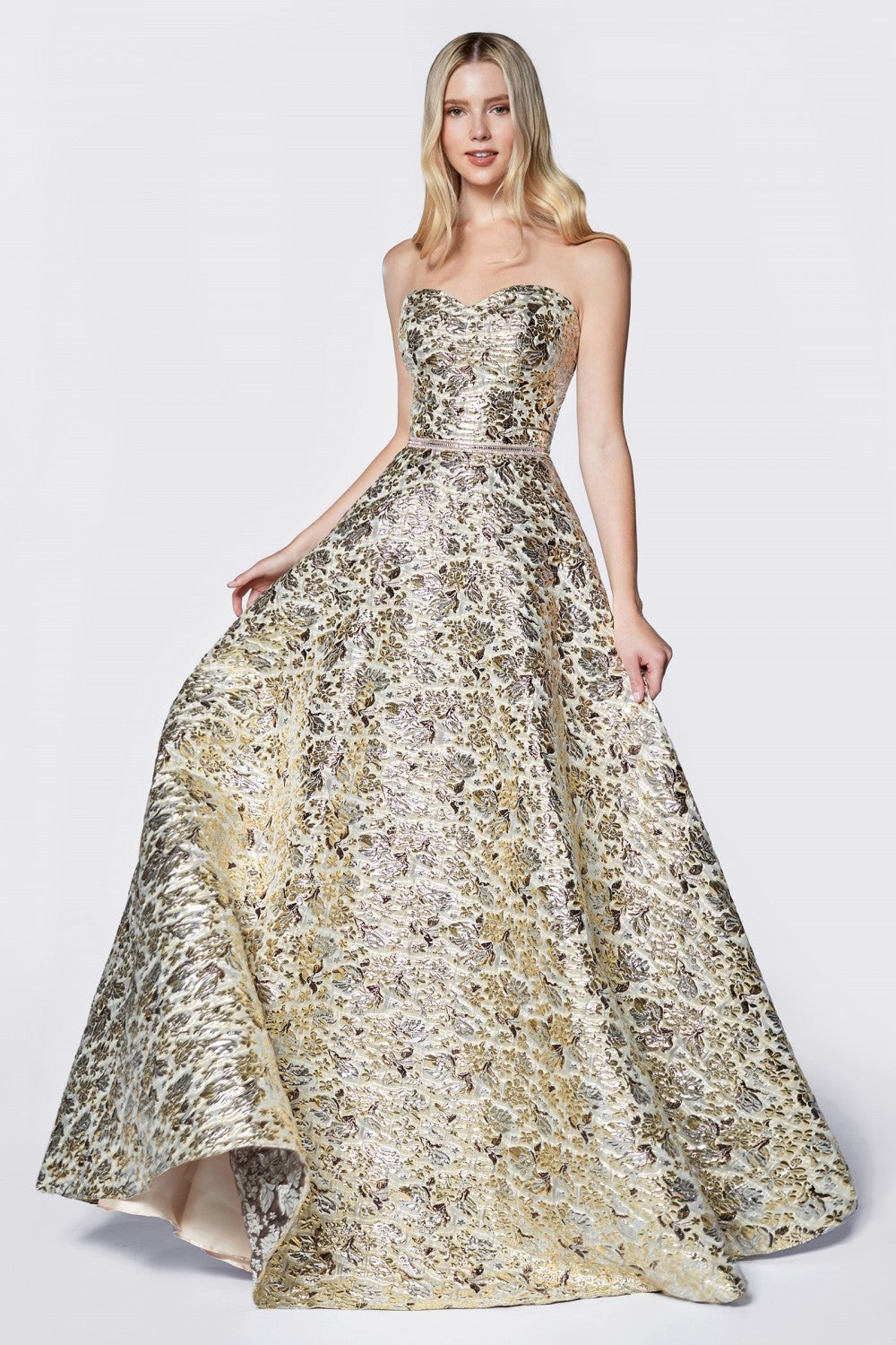Strapless Ball Gown With Metallic Brocade Details And Beaded Belt