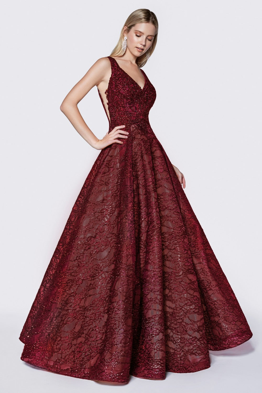 Lace Ball Gown With Glitter Accents, Illusion Side Panels And Deep V-Neckline