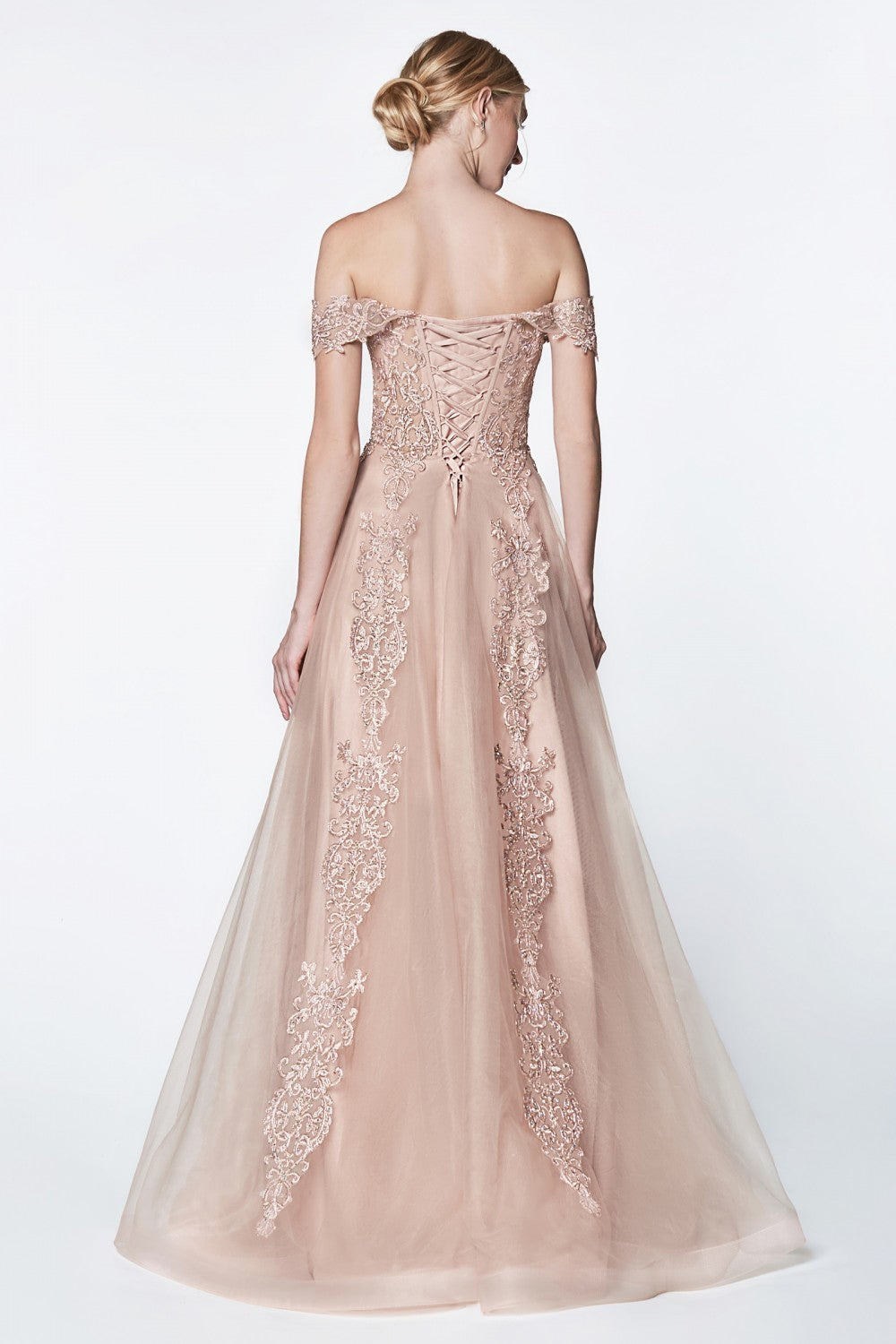 Off The Shoulder Embelished Lace A-Line Tulle Gown With Lace Up Back