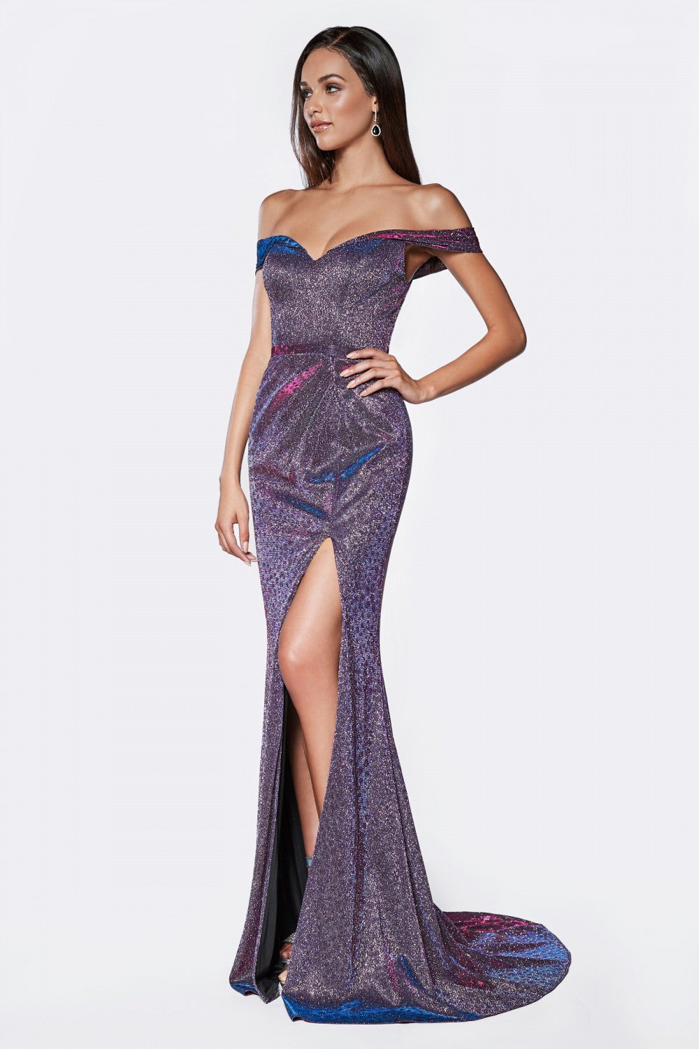 Off The Shoulder Metallic Fitted Gown With Sweetheart Neckline And Leg Slit