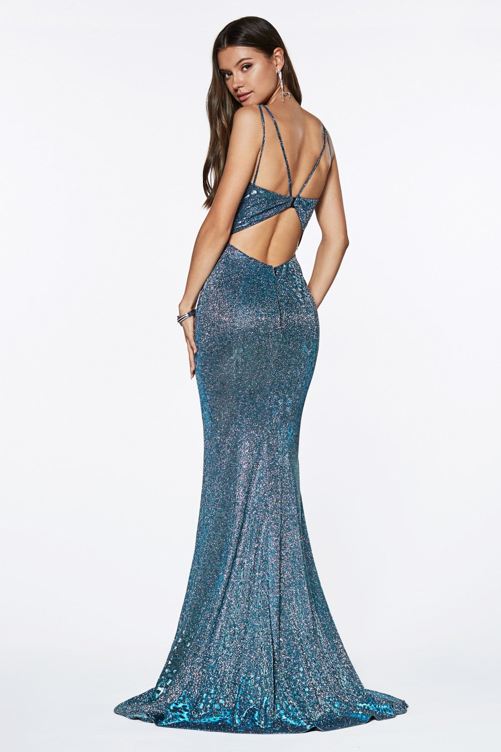 Fitted Metallic Gown With Deep Plunge And Keyhole Back