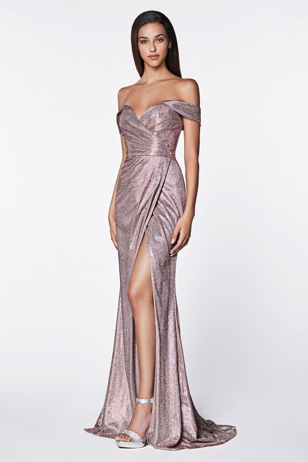 Off The Shoulder Metallic Gown With Sweetheart Neckline And Leg Slit