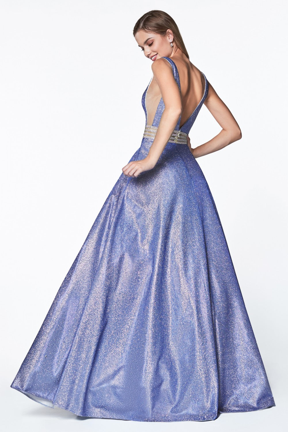 Deep V-Neckline Ball Gown With Glitter Fabric And Beaded Belt