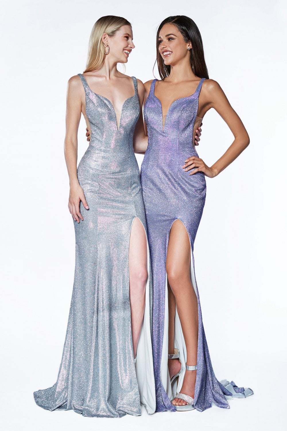 Fitted Metallic Glitter Gown With Deep Sweetheart And Leg Slit
