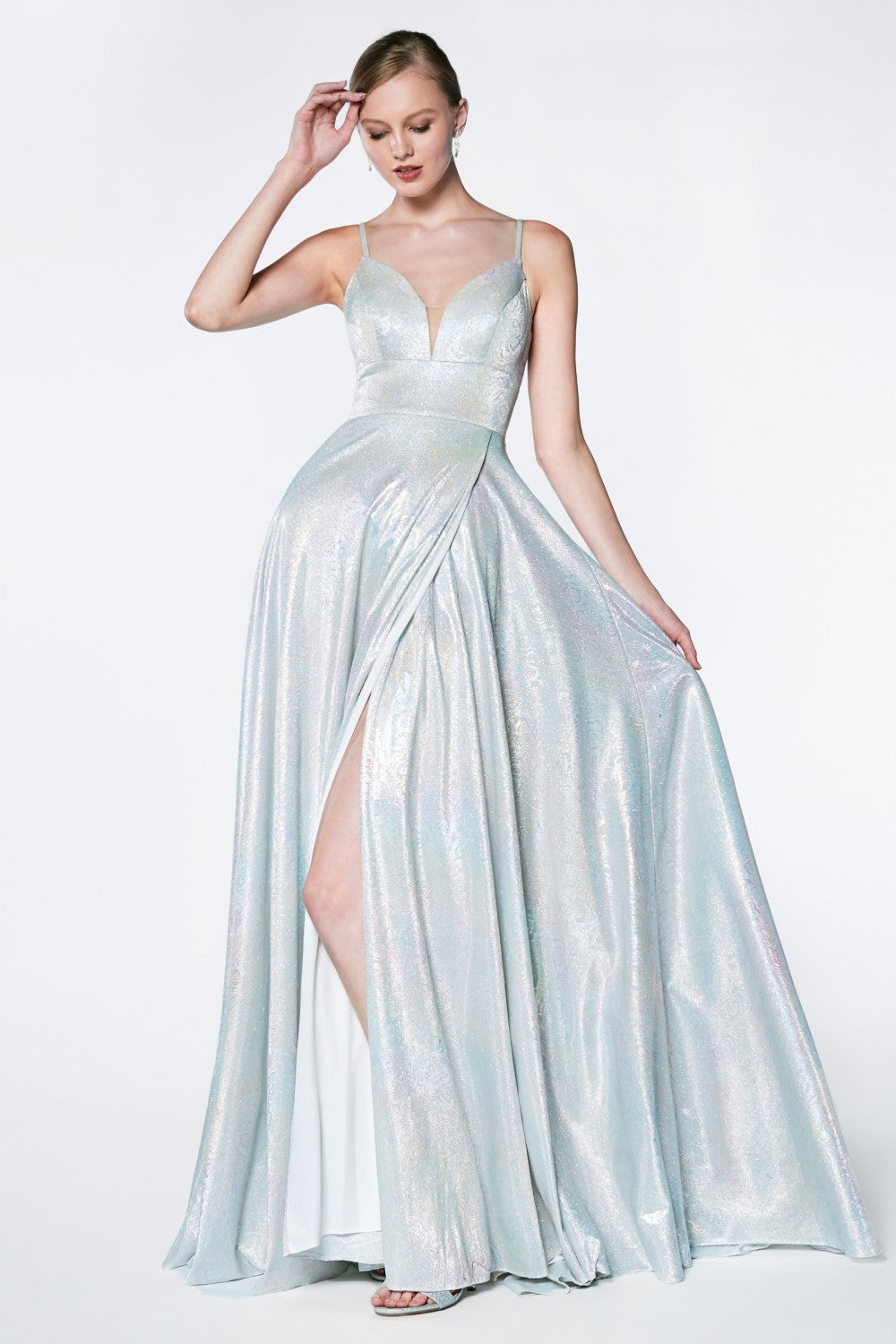 A-Line Slit Gown With Metalic Hologram Fabric And Open Back