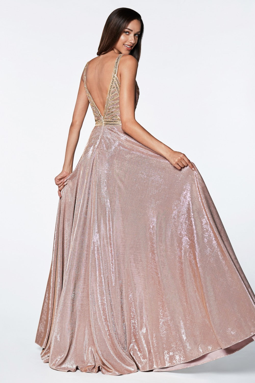A-Line Glitter Gown With Beaded Top And Metallic Fabric