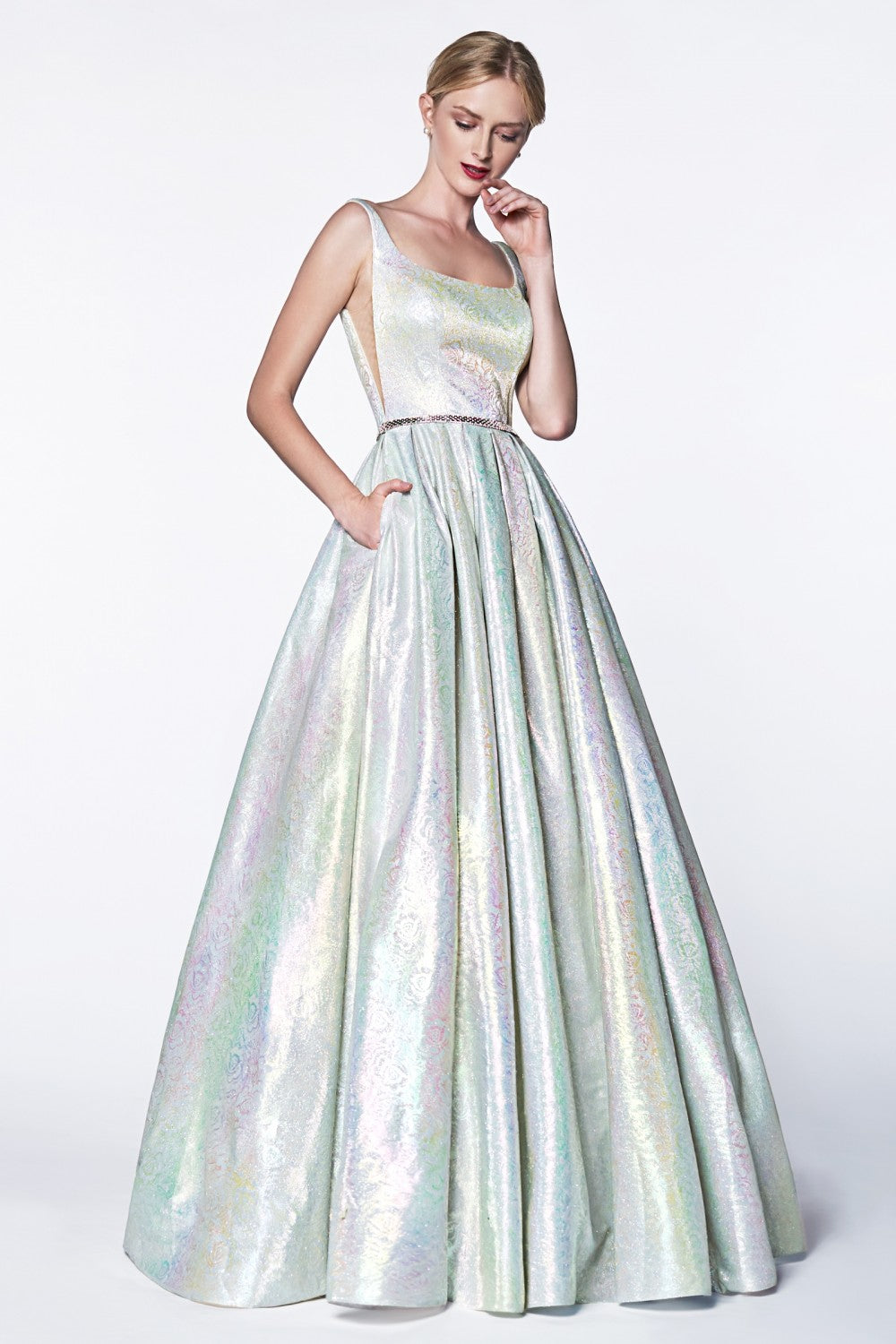 Metallic Holograohic Floral Ball Gown With Illusion Sides And Pockets