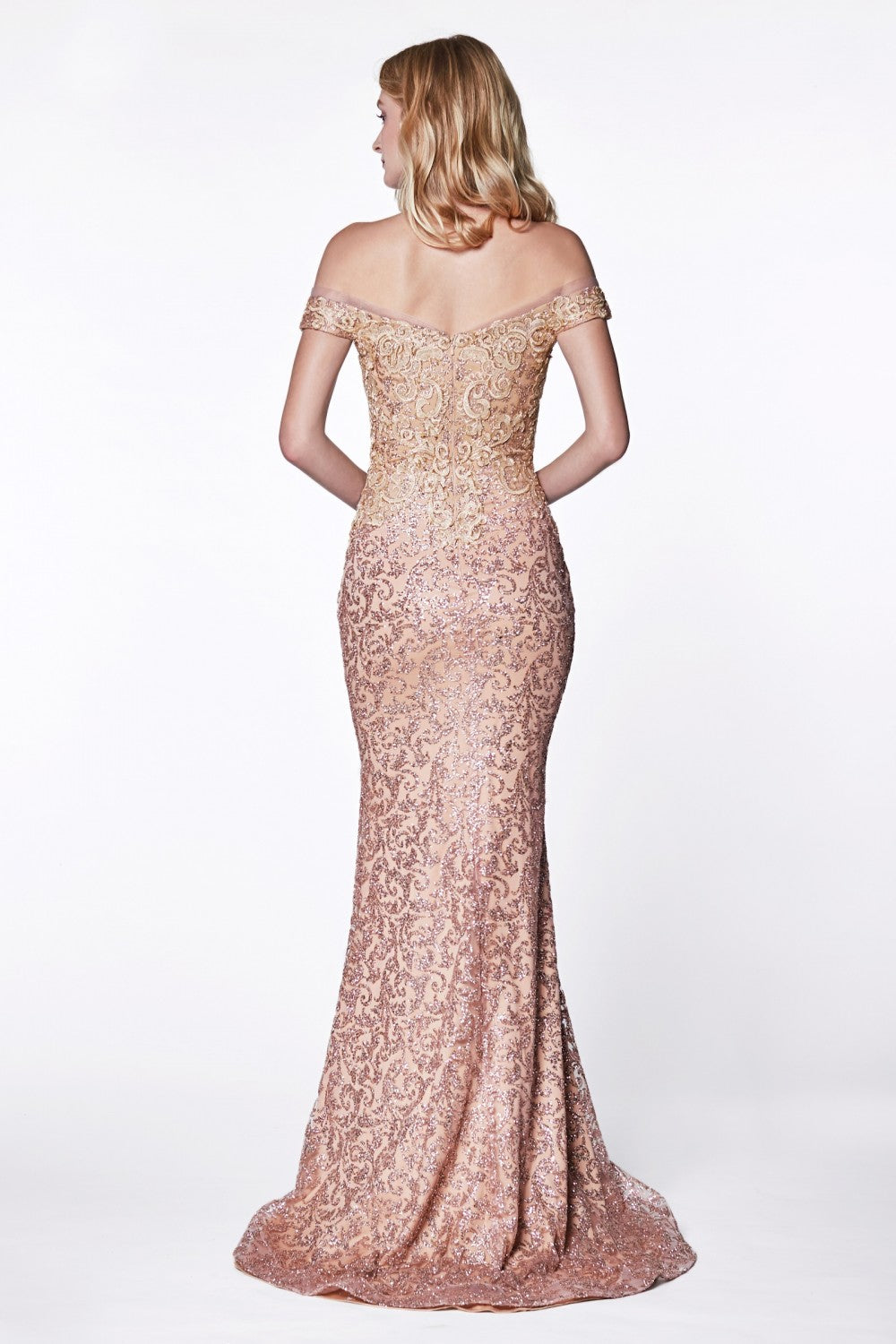 Off The Shoulder Fitted Gown With Glitter And Beaded Lace Details