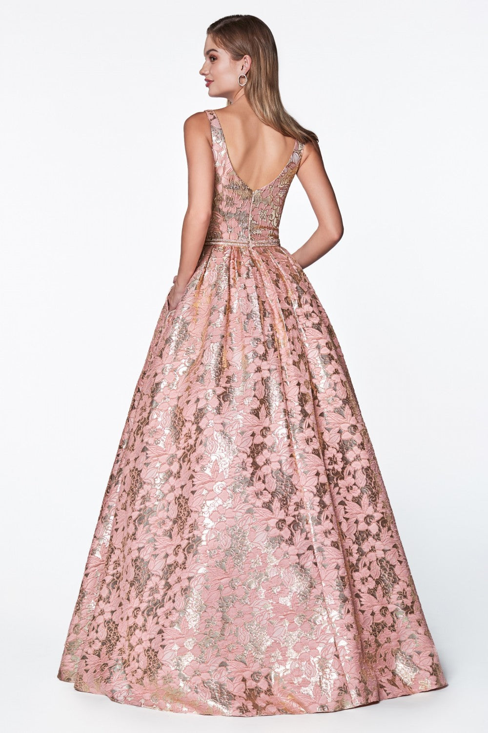 Floral Print Ball Gown Will Metallic Rose Gold Detail And Deep Plunge Neckline