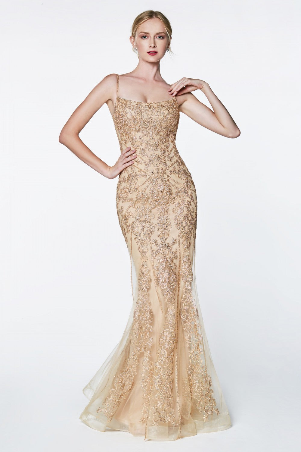 Fit And Flare Gown With Beaded Lace Detail And Straight Neckline