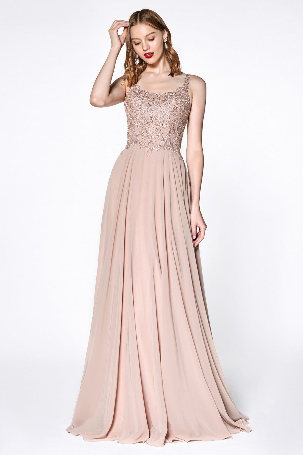 A-Line Chiffon Gown With Lace Bodice And Scoop Back