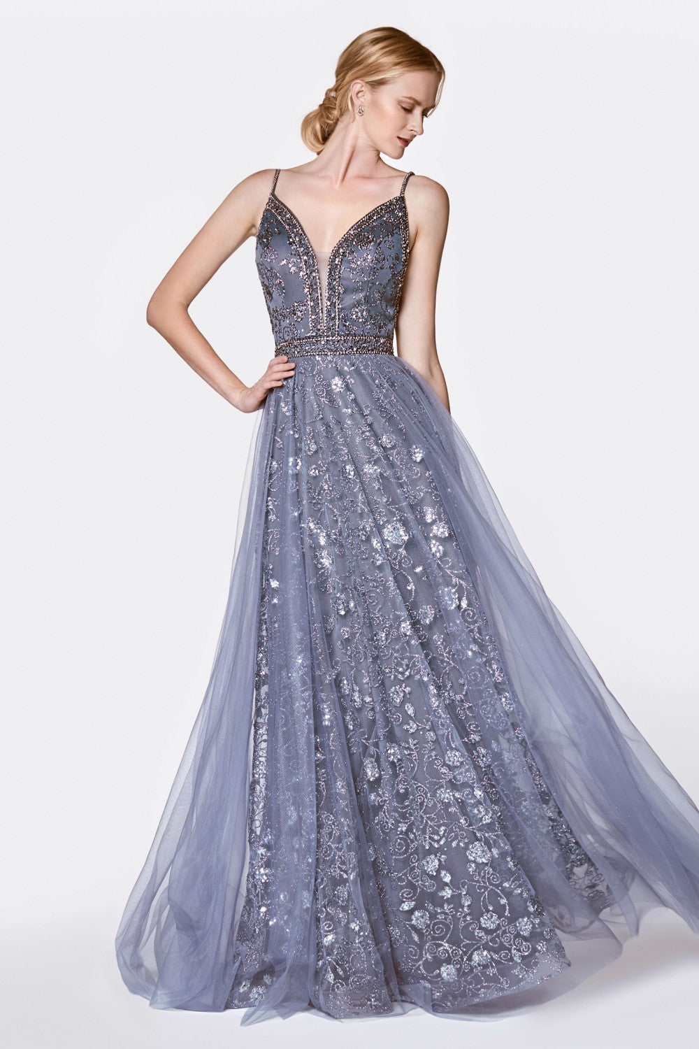 A-Line Glitter Gown With Deep Plunging Neckline And Open Back