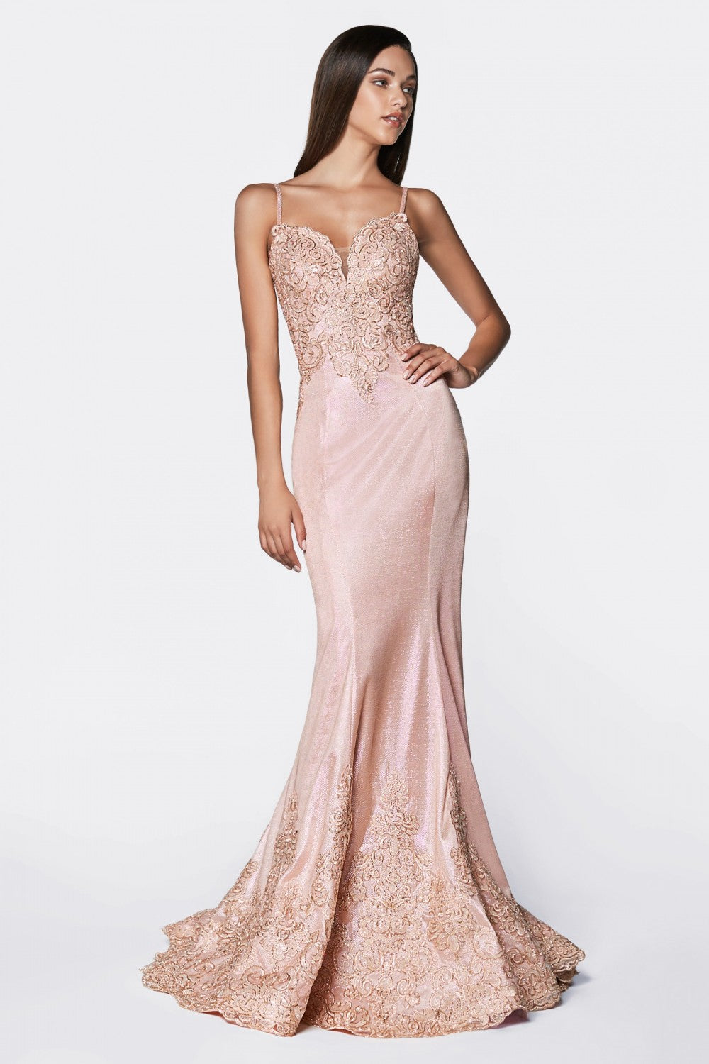 Fitted Metallic Gown With Lace Appliqued Bodice And Scallop Lace Hem