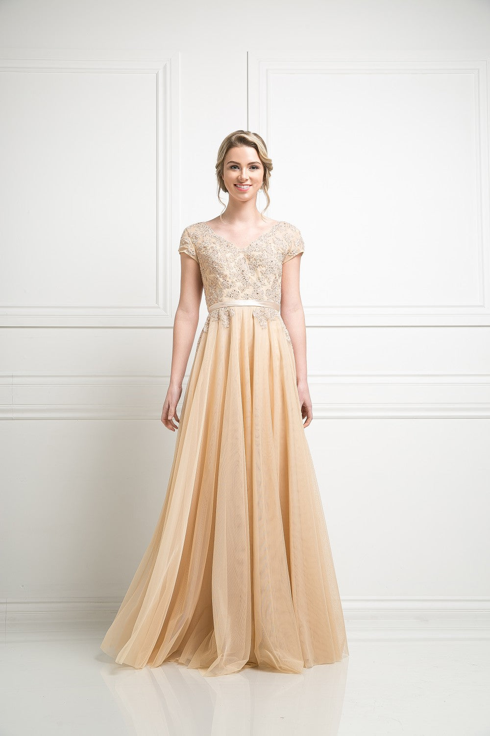 Lace Bodice Tulle A - Line Dress