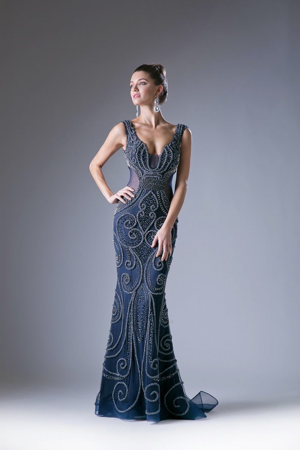 Fitted Fully Beaded Gown With Open Back And Illusion Sides