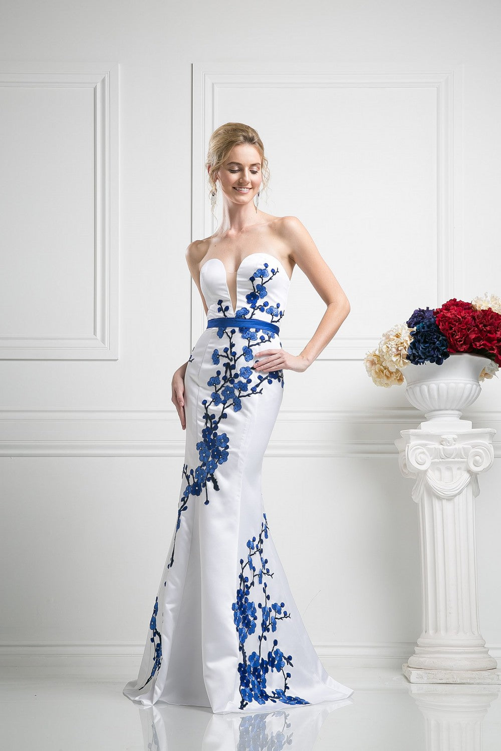 Flower Applique Satin Sheath Gown
