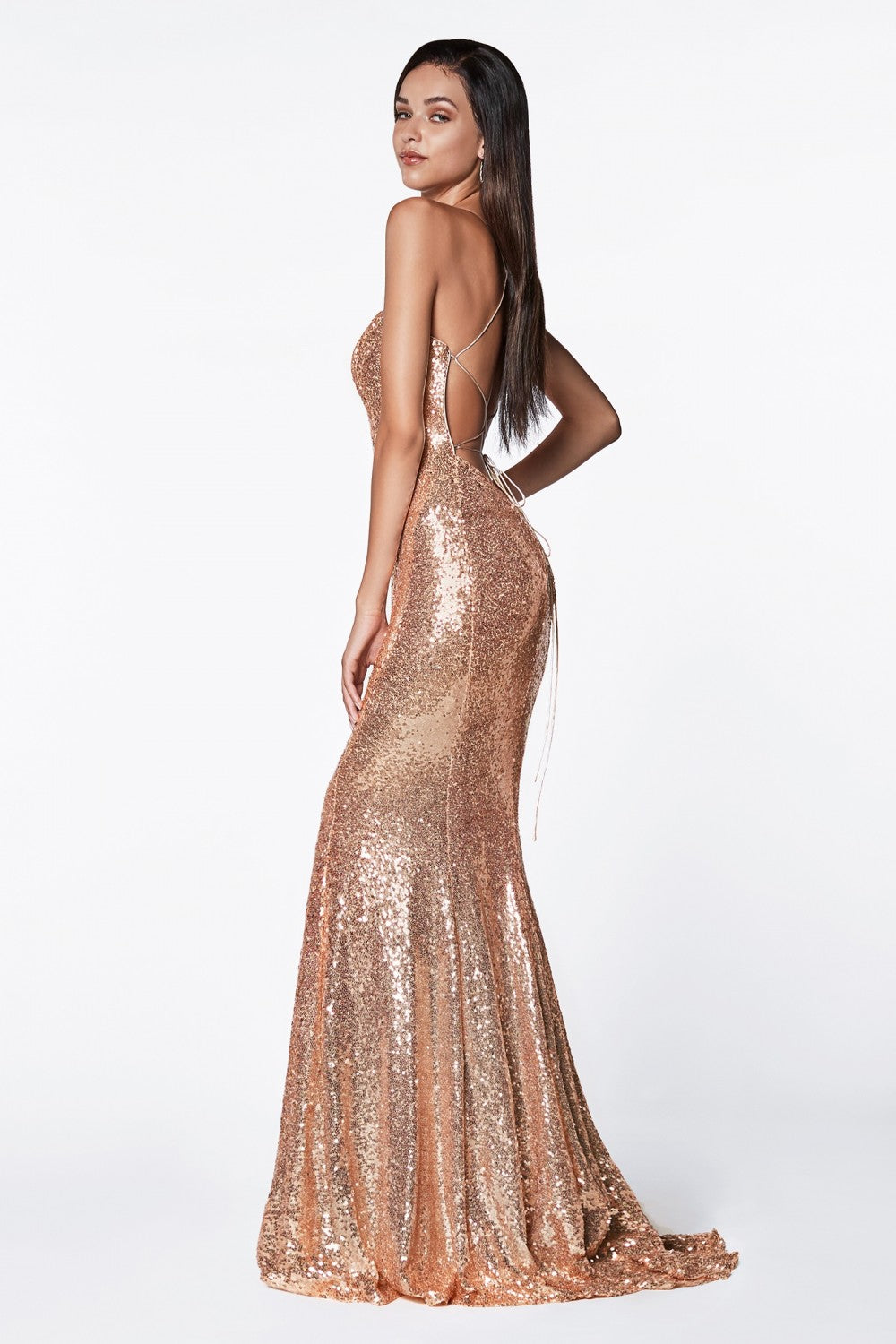 Fitted Sequin Dress With Lace Up Back And Low Open Back