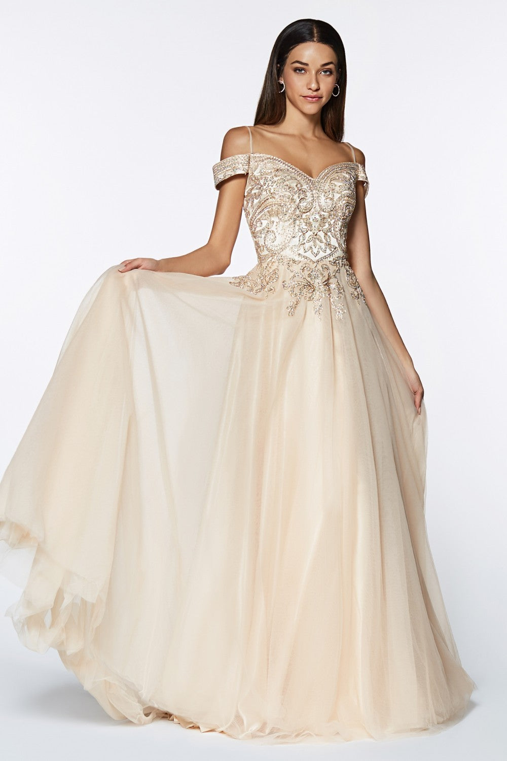 A-Line Tulle Gown With Off The Shoulder Beaded Bodice