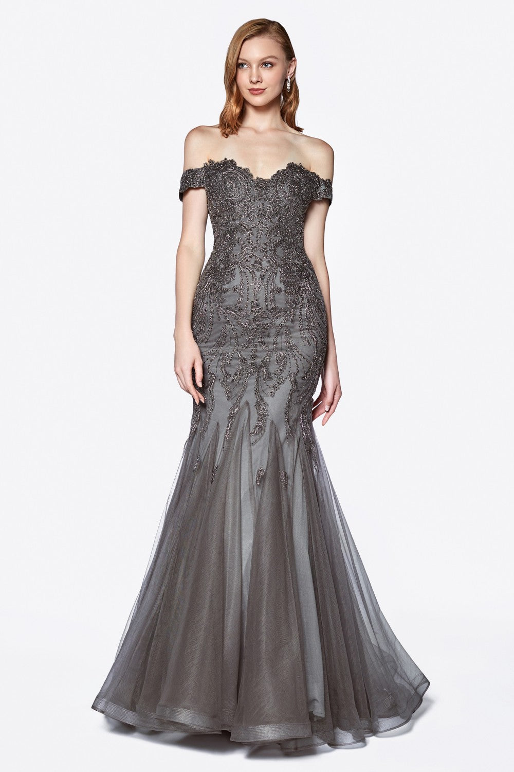 Off The Shoulder Lace And Tulle Mermaid Gown With Horsehair Trim And Beaded Details