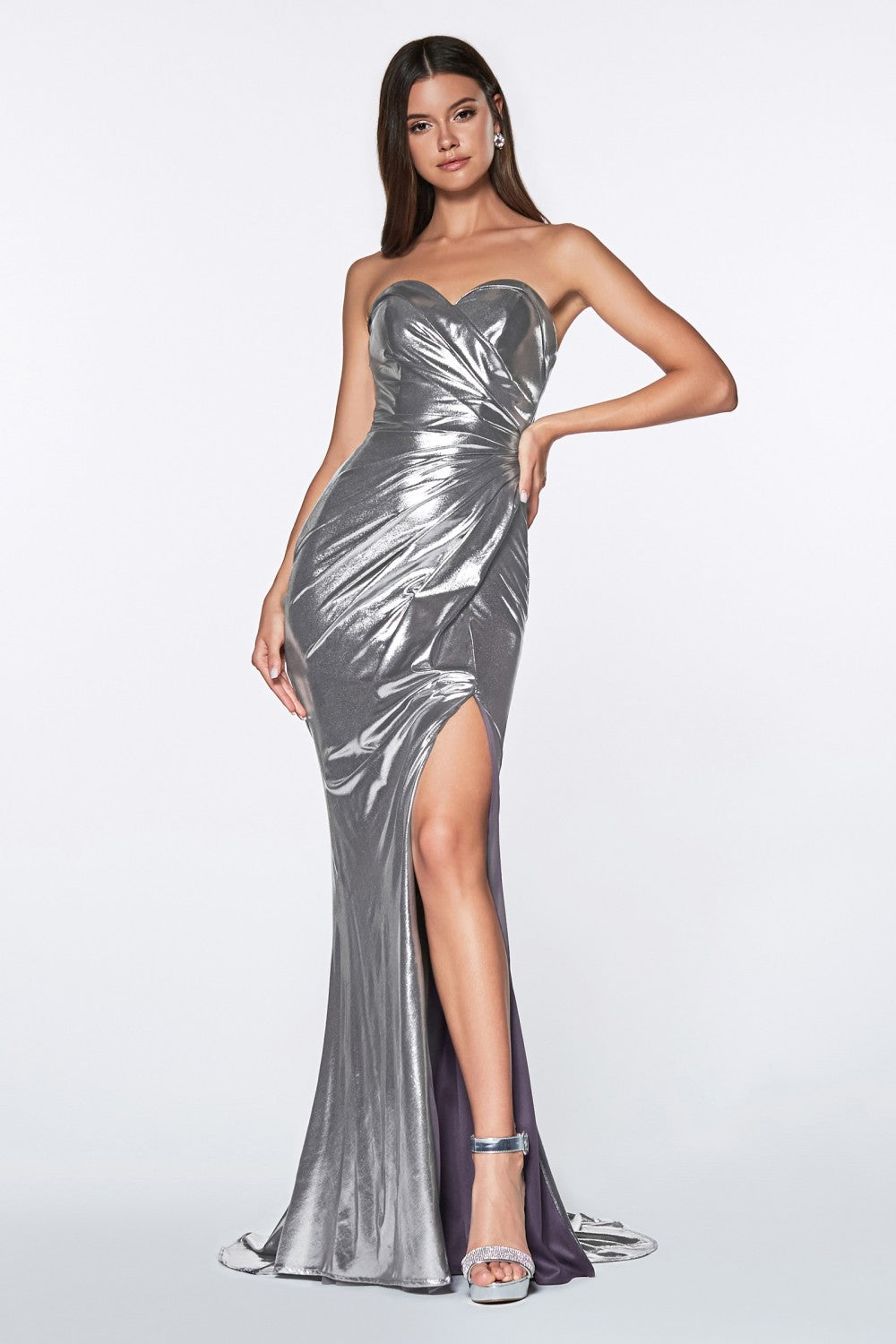 Strapless Fitted Gown With Shiny Metallic Fabric And Leg Slit