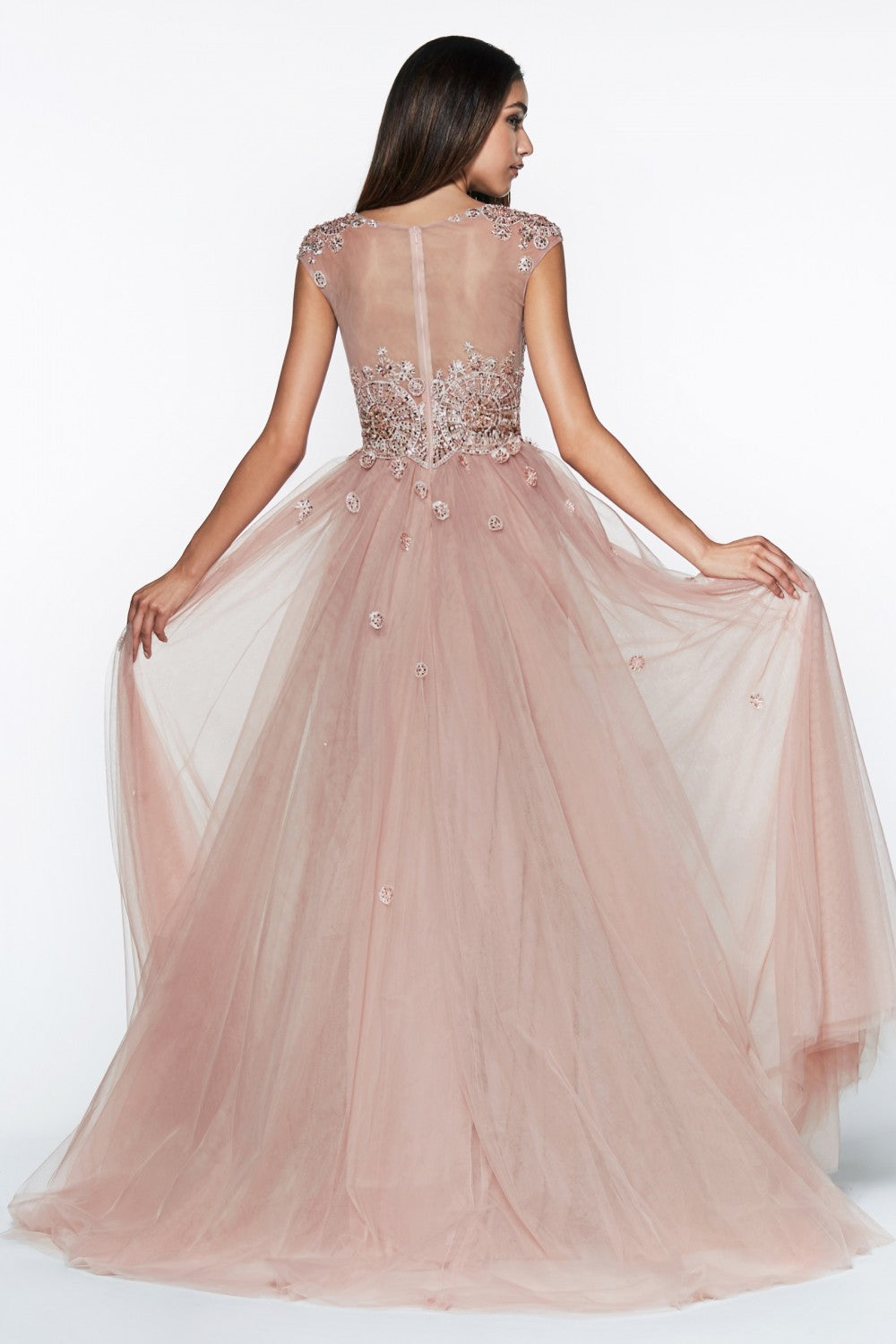 A-Line Tulle Gown With Cap Sleeve, Beaded Lace Applique And Leg Slit
