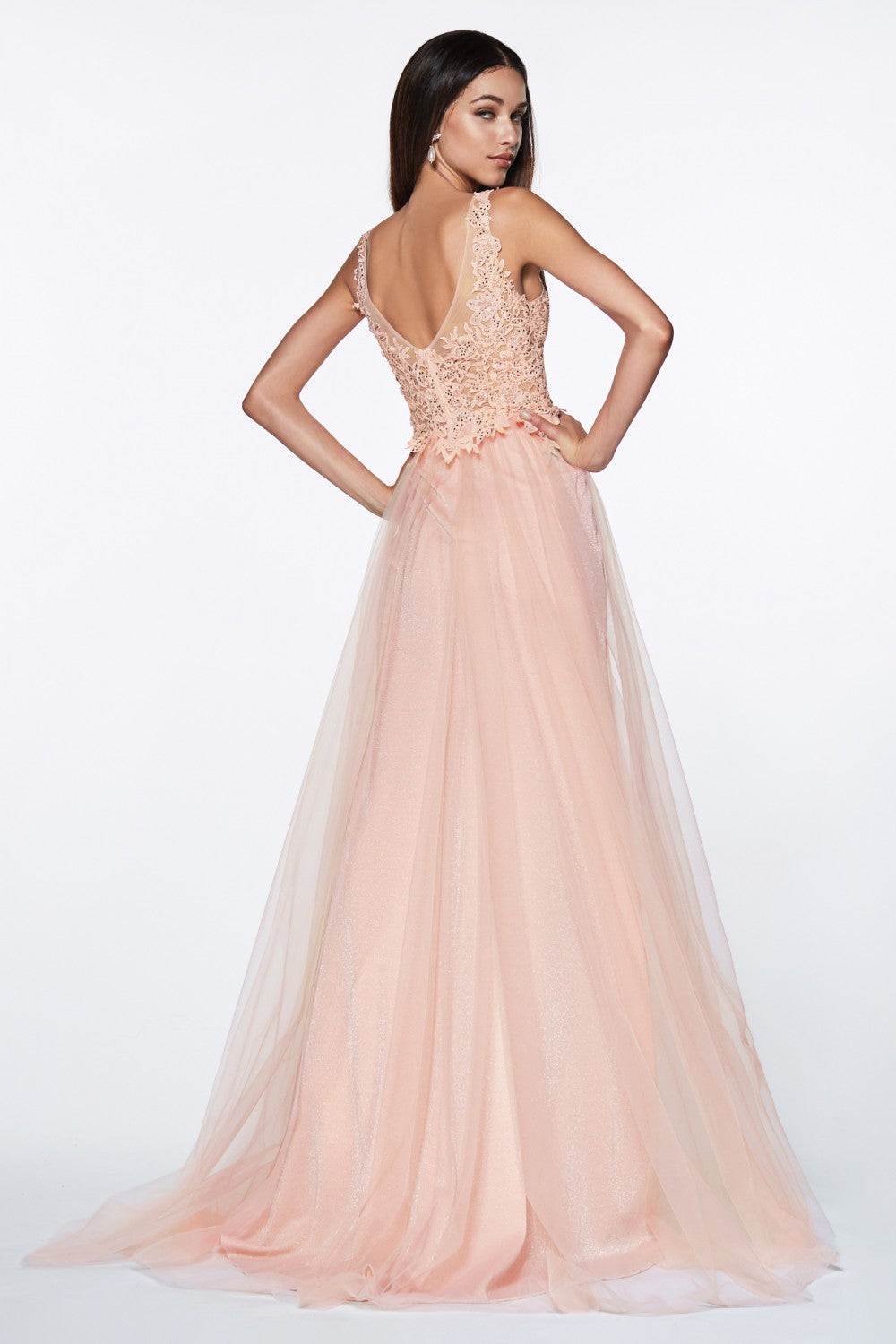 A-Line Tulle Gown With Jeweled Lace Bodice And Leg Slit