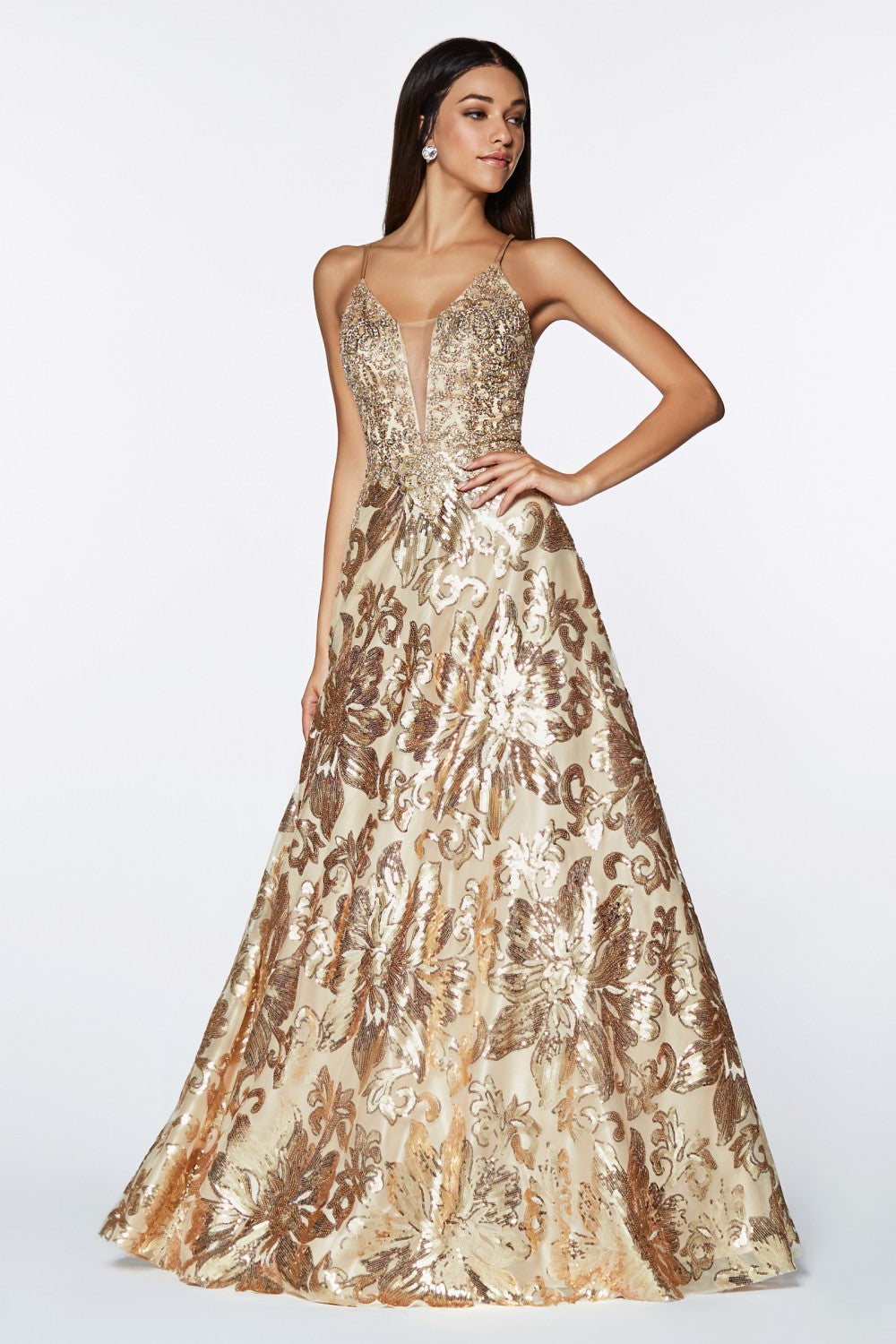 A-Line Sequin Gown With Floral Design And Criss Cross Back