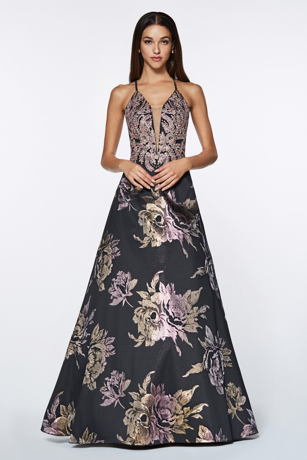 A-Line Metallic Gown With Floral Print And Criss Cross Back