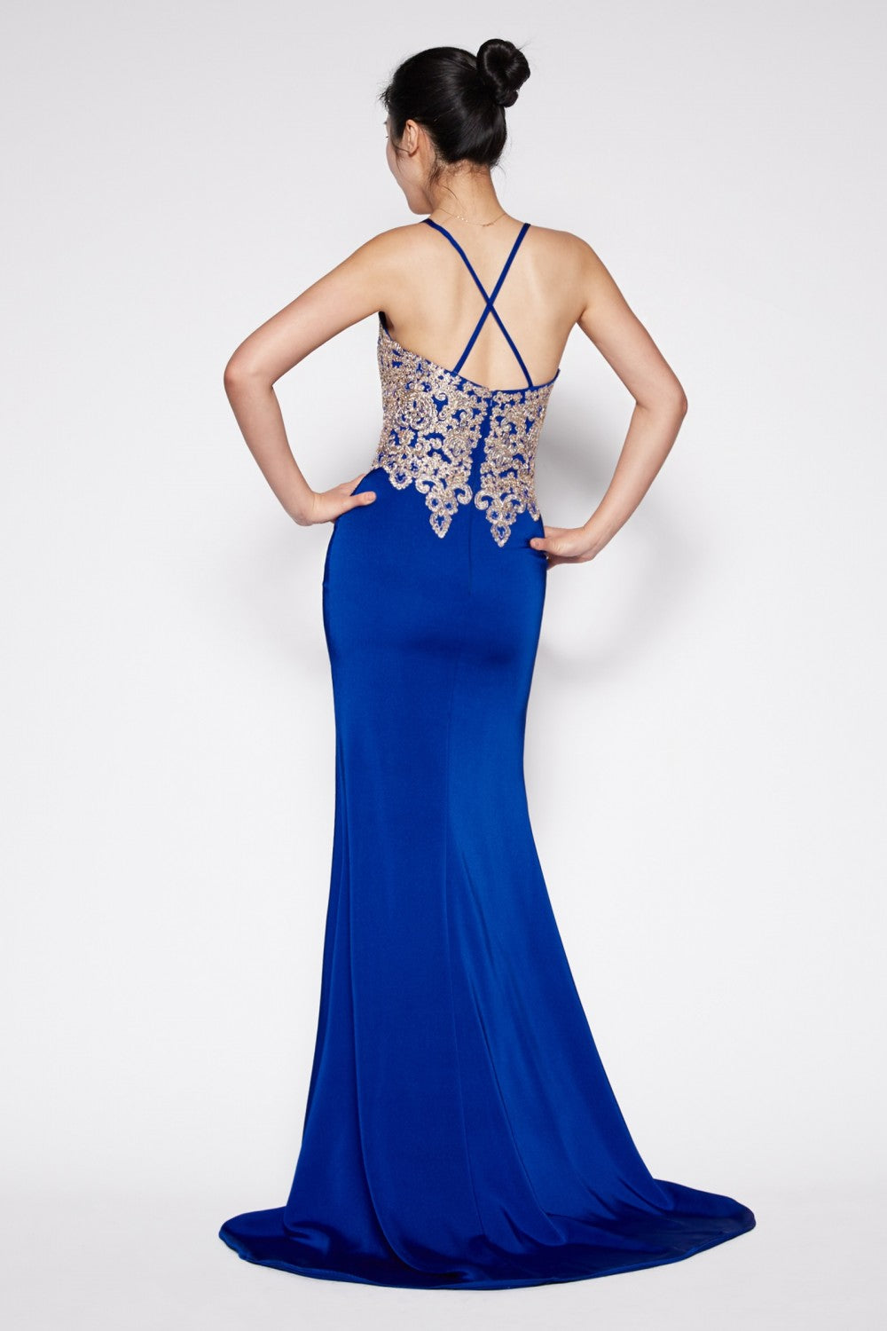 Fitted Satin Crepe Gown With Deep Plunge Neckline And Open Back