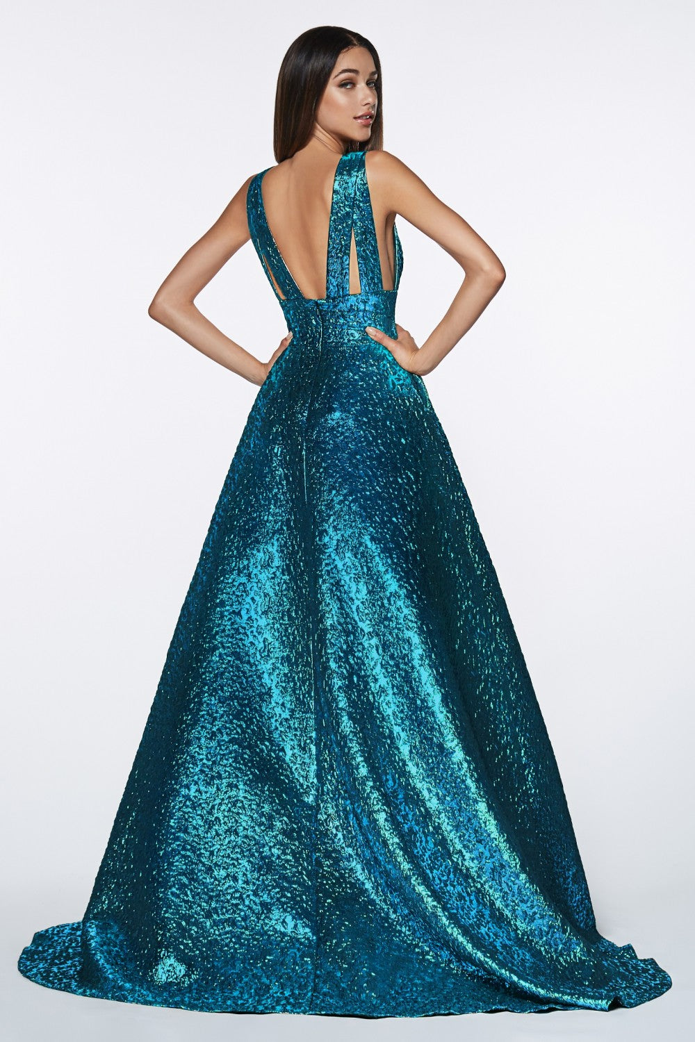 Metallic Brocade Ball Gown With Deep V-Neckline And Open Sides
