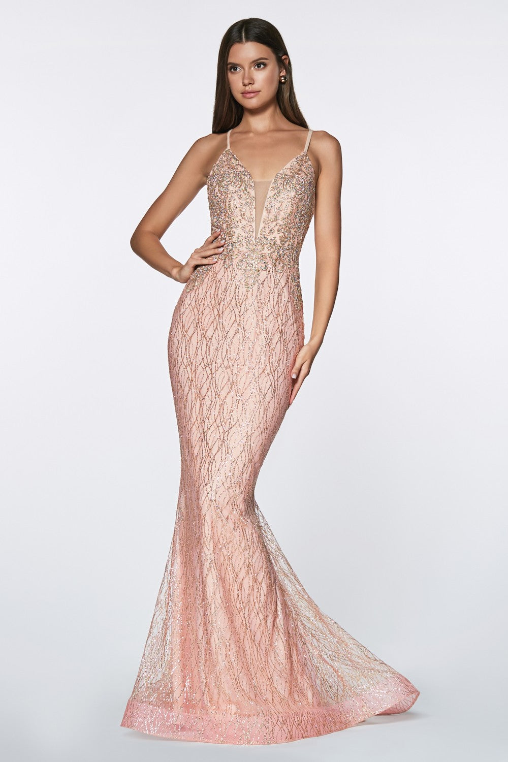 Fitted Glitter Gown With Lacey Bodice And Deep Plunge Neckline