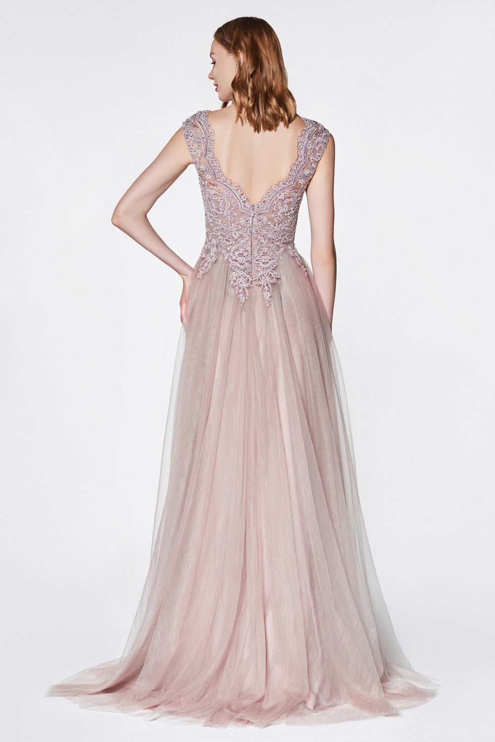 Flowy A-Line Tulle Gown With Cap Sleeve And Lace Bodice