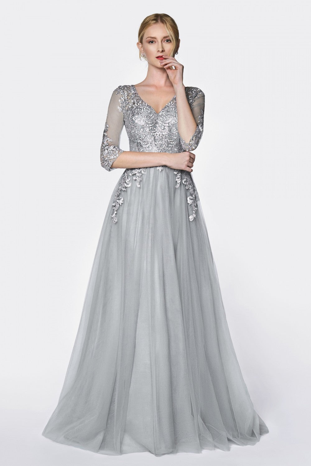 Flowy A-Line Tulle Gown With Three Quarter Sleeve And Lace Bodice
